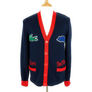 Lacoste L!ve Cool Cats Cardigan Sweater 5 L RARE!!